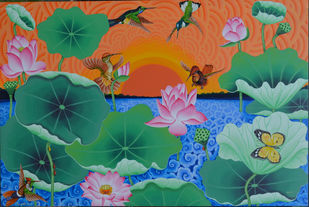 Sun Bird in the lotus pond by Ramu Das, Expressionism Painting, Acrylic on Canvas, Green color