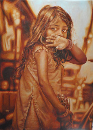 Dare to Dream by Dhiraj Khandelwal, Expressionism Painting, Oil on Canvas, Brown color