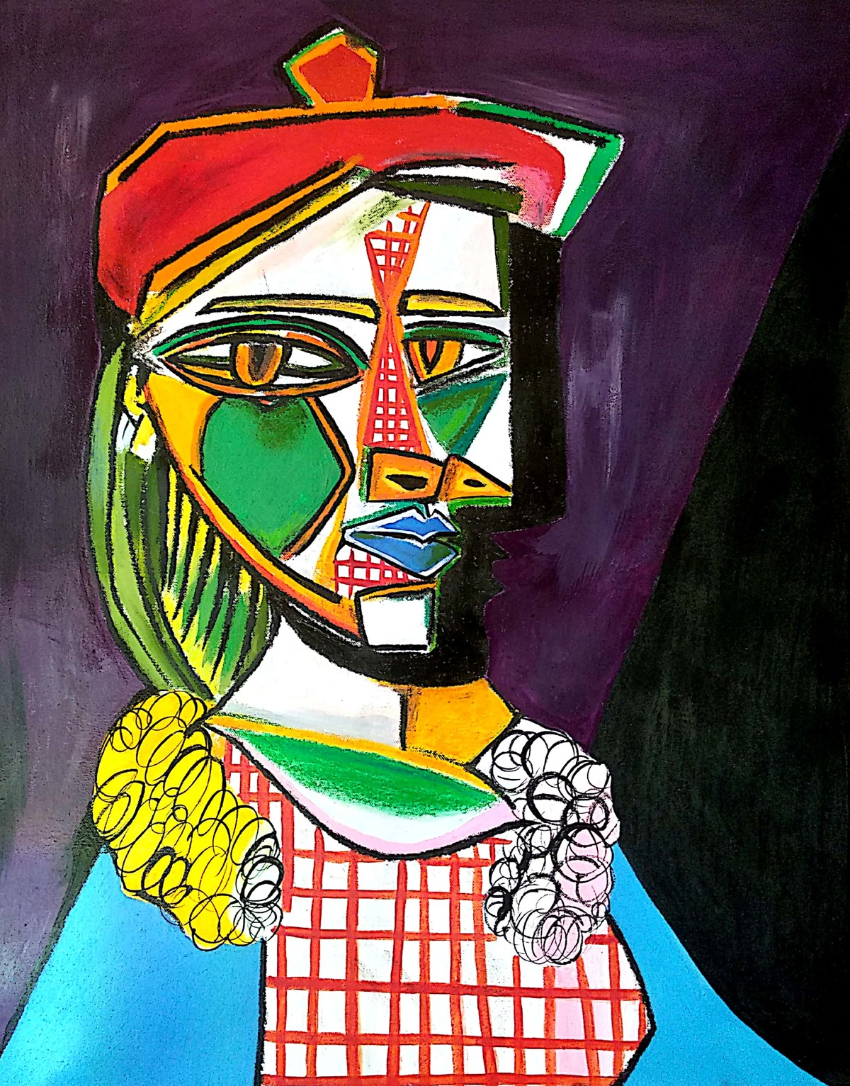 Picasso's women in beret and checked dress by NN, Illustration Painting, Acrylic on Canvas, Blue color