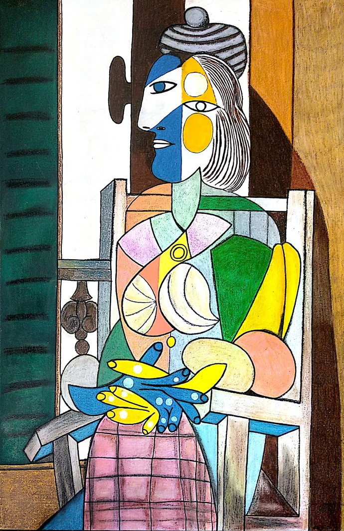 Picasso's women sitting near window by Nithil, Illustration Painting, Acrylic on Canvas, Brown color