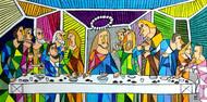 Leonardo's The Last Supper by NN, Pop Art Painting, Acrylic on Canvas, Green color