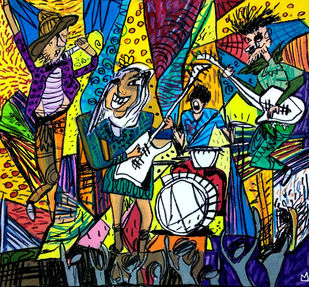 The Rock Band Digital Print by Nithil,Pop Art