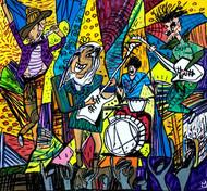 The Rock Band Digital Print by Nithil,Pop Art