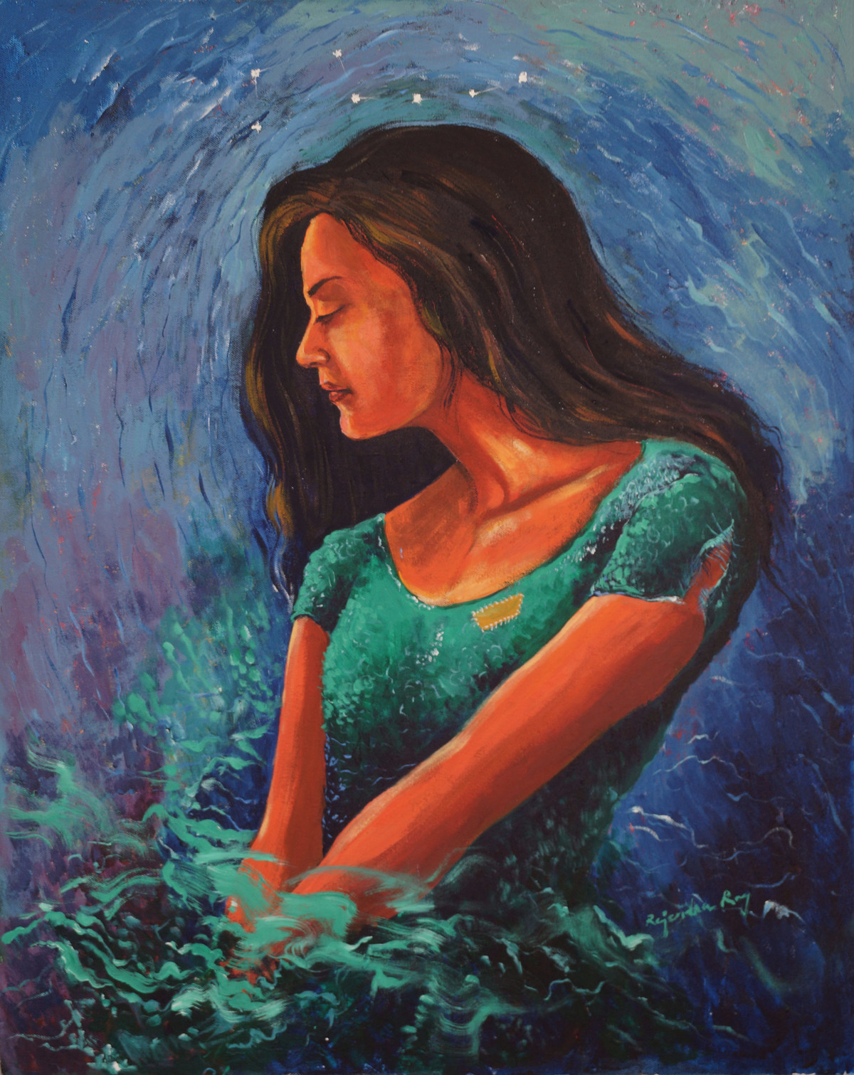 My Imagination 3 by rajendra ray, Expressionism Painting, Acrylic on Canvas, Blue color