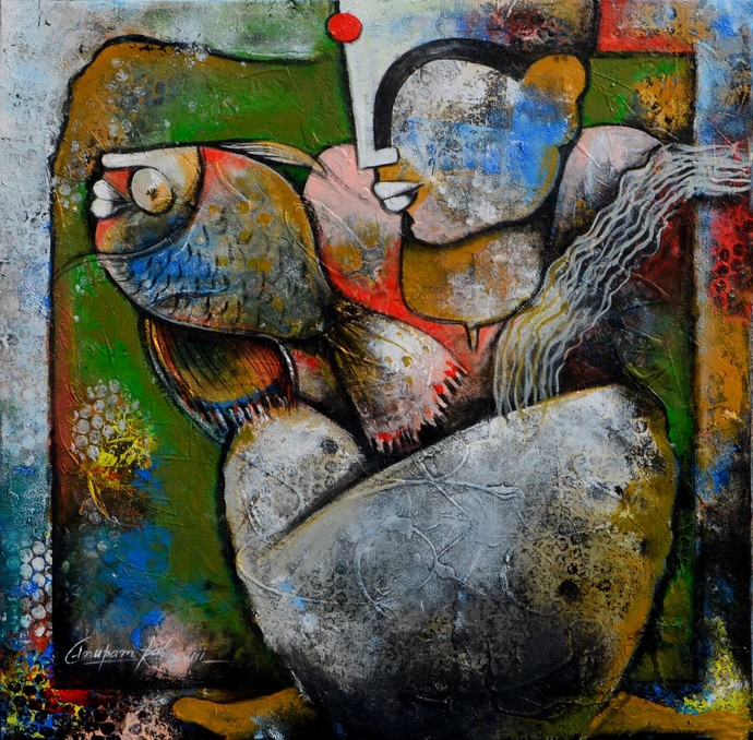 a lady with fish by anupam pal, Traditional Painting, Mixed Media on Canvas, Brown color