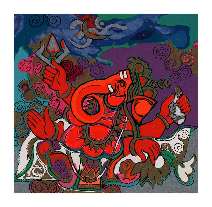 Bhupati by Ravindra Salve, Expressionism Serigraph, Serigraph on Paper, Brown color