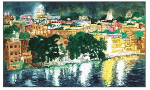 Udaipur Lake by Parag Karve, Impressionism Painting, Watercolor on Paper, Green color