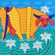 Untitled by Thota Laxminarayana, Impressionism Painting, Acrylic on Canvas, Cyan color