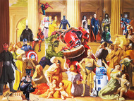 HULK VS HULKBUSTER by Sanuj Birla, Pop Art Painting, Oil on Canvas, Brown color