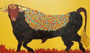 Bull by Ramakrishna Vasanthula, Painting, Acrylic on Canvas, Brown color