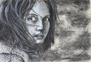 Innocence by Dhiraj K Singh, Expressionism Drawing, Charcoal on Paper, Gray color