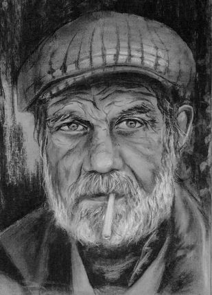 Old man by Dhiraj K Singh, Illustration Drawing, Charcoal on Paper, Gray color