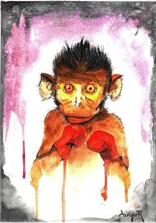 Boxing Monkey by Augur, Expressionism Painting, Watercolor on Paper, Gray color