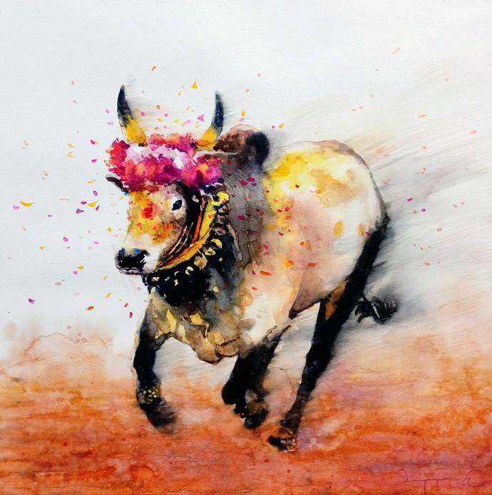 Jallikattu by Jeyaprakash M, Impressionism Painting, Watercolor on Paper, Gray color