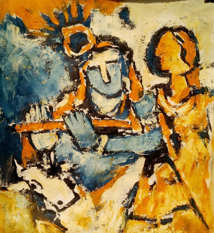 radha krishna by Aditya Dev, Expressionism Painting, Oil on Canvas, Brown color
