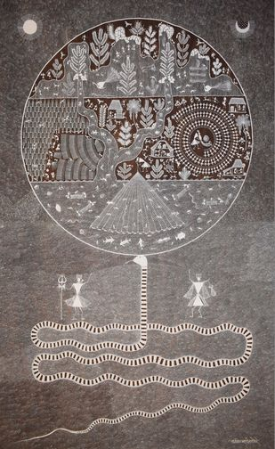 Warli Art by Unknown Artist, Folk Painting, Cow dung on Cloth, Brown color