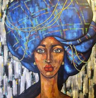 Girl in a blue turban by Suruchi Jamkar, Expressionism Painting, Acrylic on Canvas, Blue color