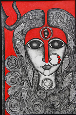 Kaumari by Swadha, Illustration Drawing, Acrylic & Ink on Canvas, Gray color