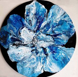 BLOOM 1 by kakali sanyal, Abstract Painting, Acrylic on Canvas, Blue color