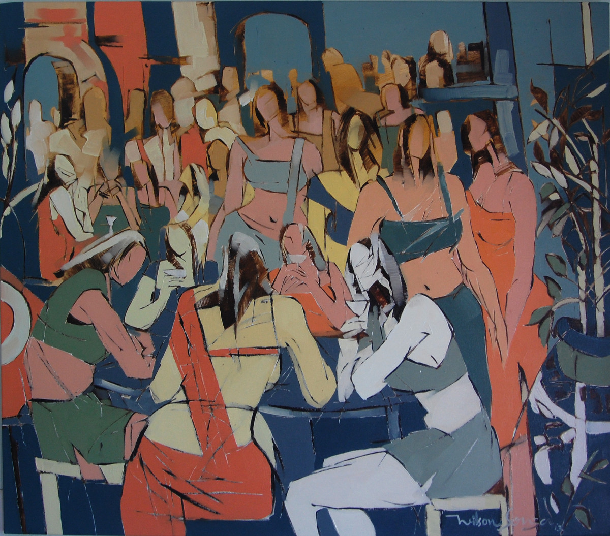 College Girls by Wilson Souza, Expressionism Painting, Oil on Canvas, Brown color