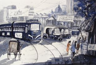 Morning Light in Kolkata - III by Anirban Seth, Impressionism Painting, Watercolor on Paper, Gray color