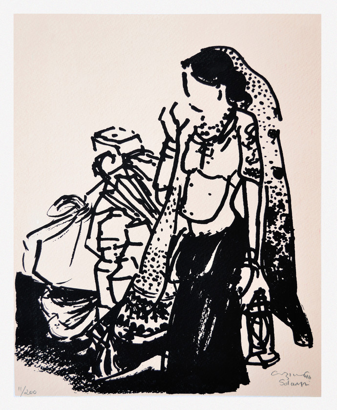 Untitled by Vrindavan Solanki, Expressionism Printmaking, Serigraph on Paper, Gray color