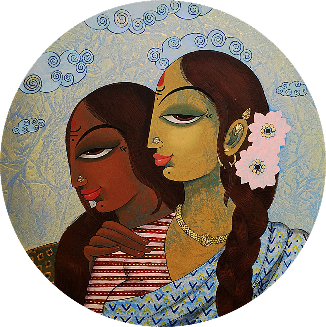 friends by Varsha Kharatmal, Decorative Painting, Acrylic on Canvas, Brown color