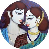 couple by Varsha Kharatmal, Decorative Painting, Acrylic on Canvas, Brown color