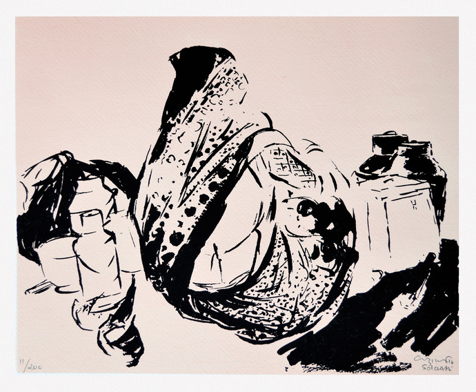 Untitled by Vrindavan Solanki, Expressionism Printmaking, Serigraph on Paper, Pink color
