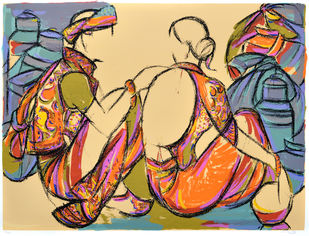 Tribal couple by Vrindavan Solanki, Expressionism Printmaking, Serigraph on Paper, Brown color