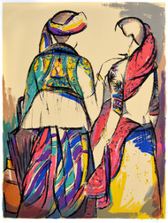 Tribal couple by Vrindavan Solanki, Expressionism Printmaking, Serigraph on Paper, Beige color