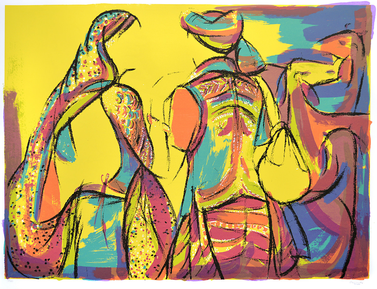 Goatherders by Vrindavan Solanki, Expressionism Printmaking, Serigraph on Paper, Brown color