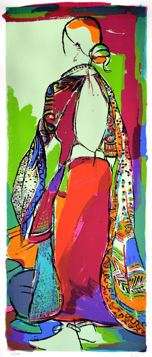 Tribal woman by Vrindavan Solanki, Expressionism Printmaking, Serigraph on Paper, Brown color