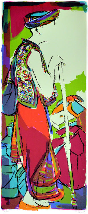 Tribal man by Vrindavan Solanki, Expressionism Printmaking, Serigraph on Paper, Brown color