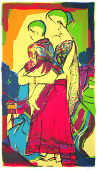 Mother & Child by Vrindavan Solanki, Expressionism Printmaking, Serigraph on Paper, Beige color