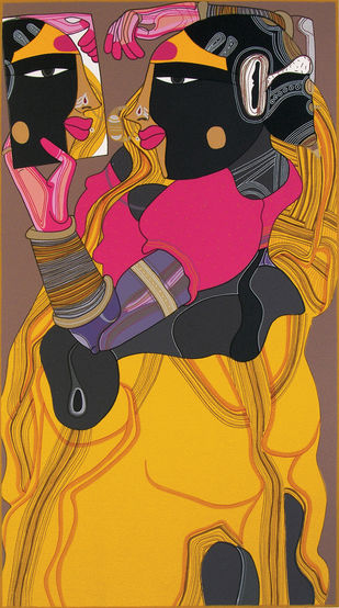 Untitled by Thota Vaikuntam, Expressionism Printmaking, Serigraph on Paper, Brown color