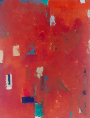 Sunrise by F Tarannum, Abstract Painting, Oil on Canvas, Red color