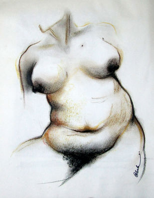 NUDE 8 by A Kundu, Illustration Drawing, Pastel on Paper, Gray color