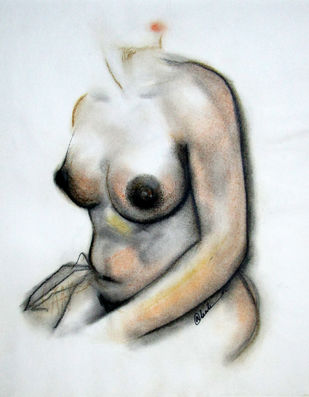 NUDE 5 by A Kundu, Illustration Drawing, Dry Pastel on Paper, Gray color