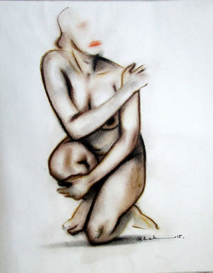 NUDE 3 by A Kundu, Illustration Drawing, Dry Pastel on Paper, Gray color