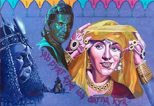 """The Prince and the Courtesan - from the series """" MY BRUSH WITH BOLLYWOOD'' by Anukta Mukherjee Ghosh, Pop Art Painting, Acrylic on Canvas, Blue color"""