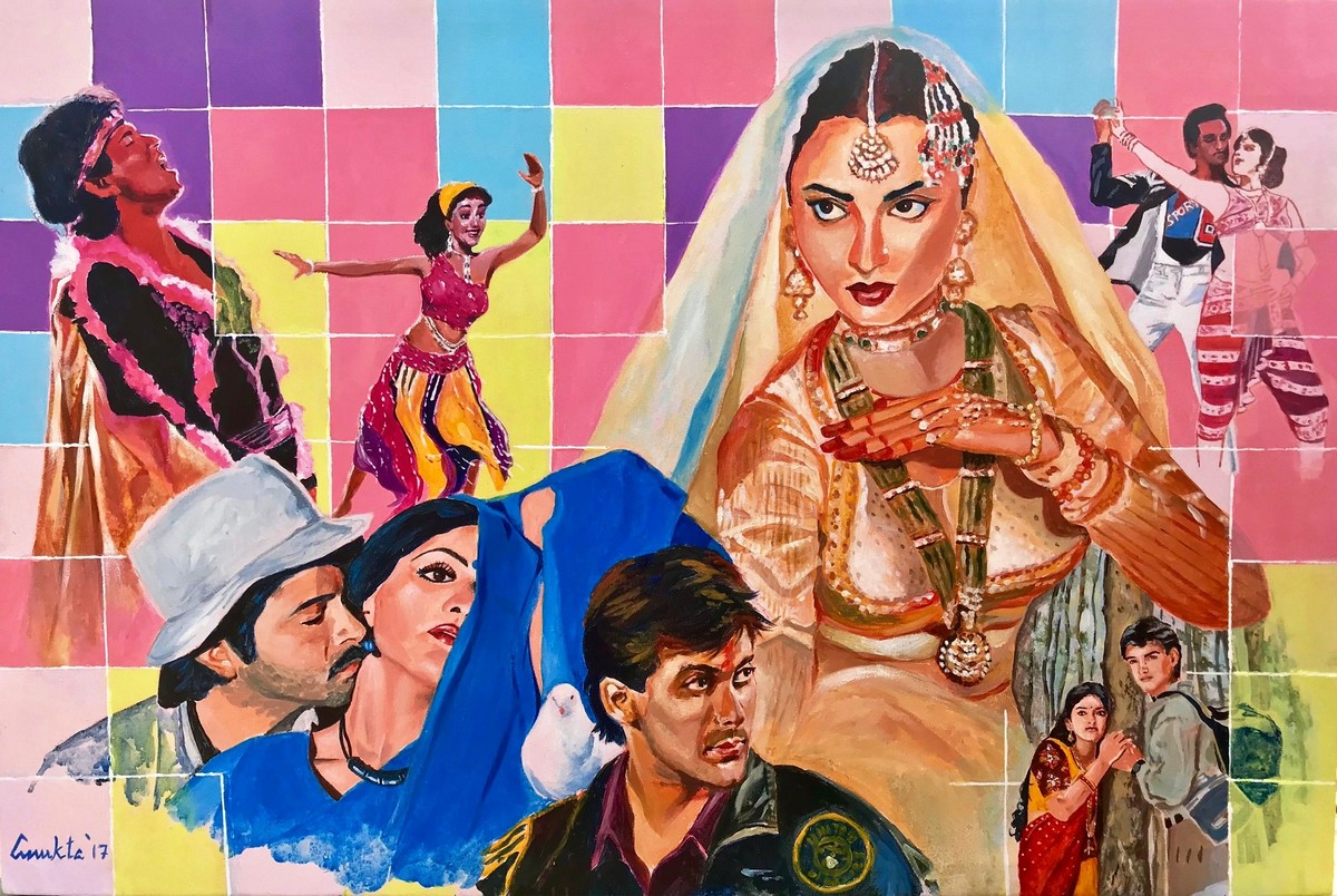 "STARDUST - from my series "" MY BRUSH WITH BOLLYWOOD'' by Anukta Mukherjee Ghosh, Pop Art Painting, Acrylic on Canvas, Brown color"