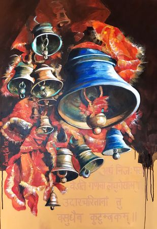 Sounds of Divinity - II by Anukta Mukherjee Ghosh, Expressionism Painting, Acrylic on Canvas, Brown color