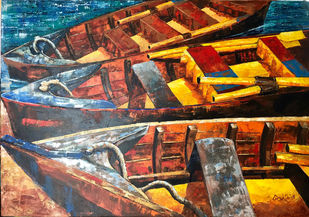 KASHTIYAAN by Anukta Mukherjee Ghosh, Expressionism Painting, Acrylic on Canvas, Brown color