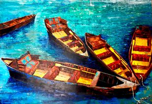 KASHTIYAAN-II by Anukta Mukherjee Ghosh, Expressionism Painting, Acrylic on Canvas, Brown color