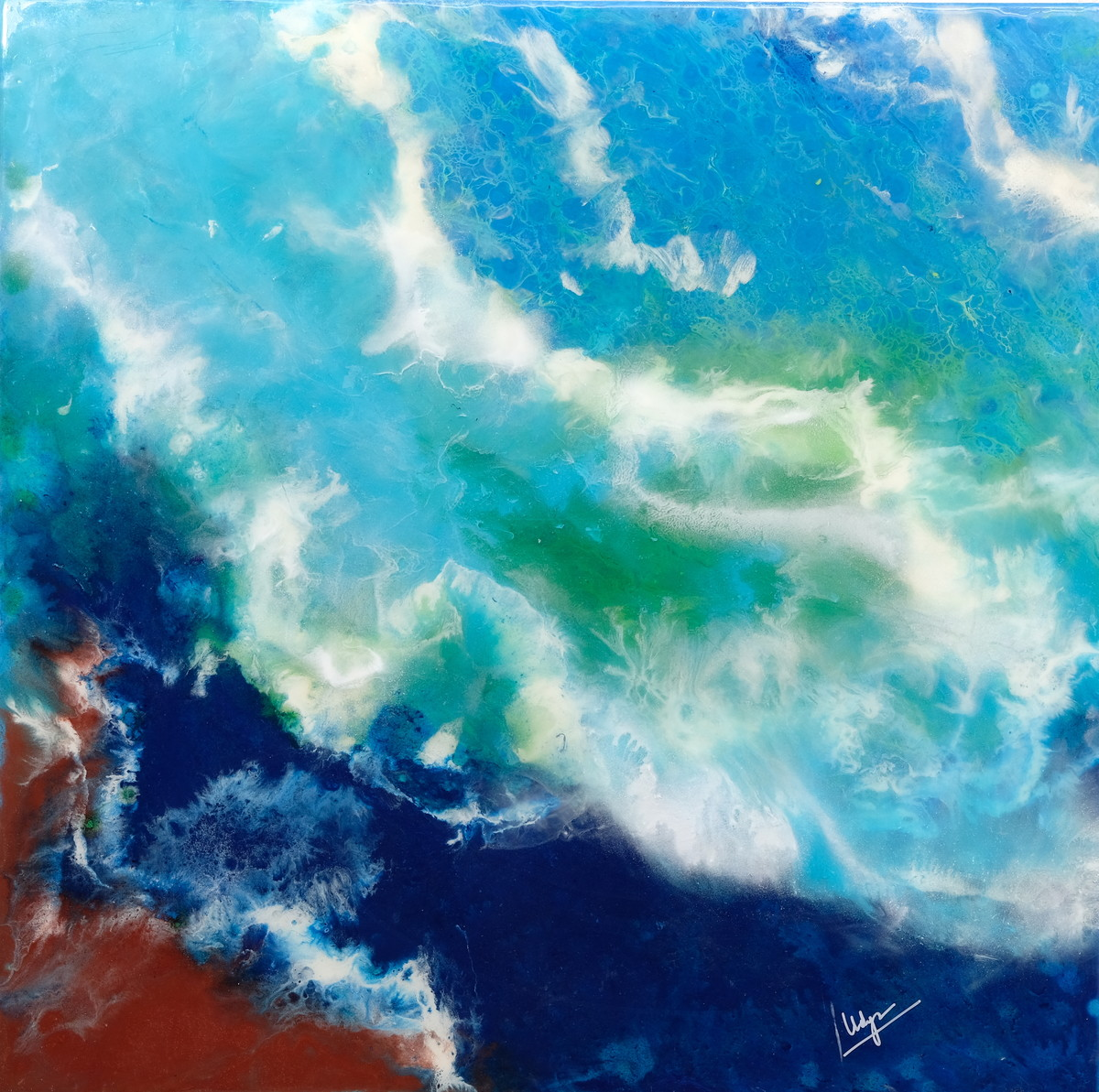 Abstract Resin Painting by Vidya Mukund, Abstract Painting, Mixed Media on Canvas, Cyan color