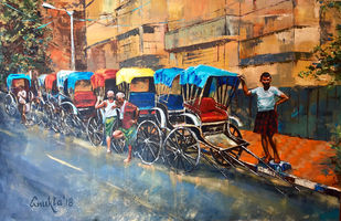WAITING WHEELS by Anukta Mukherjee Ghosh, Expressionism Painting, Acrylic on Canvas, Brown color