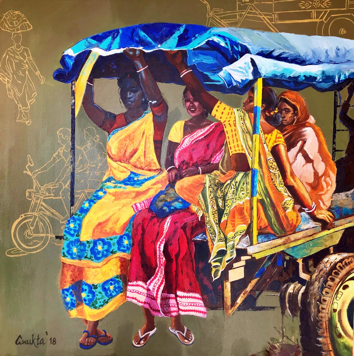 VILLAGE TALES by Anukta Mukherjee Ghosh, Impressionism Painting, Acrylic on Canvas, Brown color