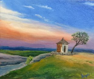 Tranquil Temple by Aashish Dongre, Impressionism Painting, Oil on Canvas Board, Green color