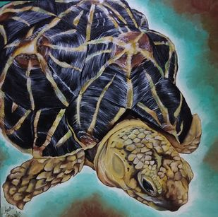 Titi the Tortoise by Aastha Bairollia, Fantasy Painting, Acrylic on Canvas, Brown color